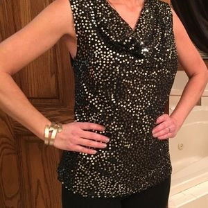 Tops - Stunning Black Top with sequins front and black